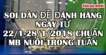 Soi dàn đề đánh hàng ngày từ 22/1-28/1/2018 chuẩn Mb hôm nay nuôi trong tuần
