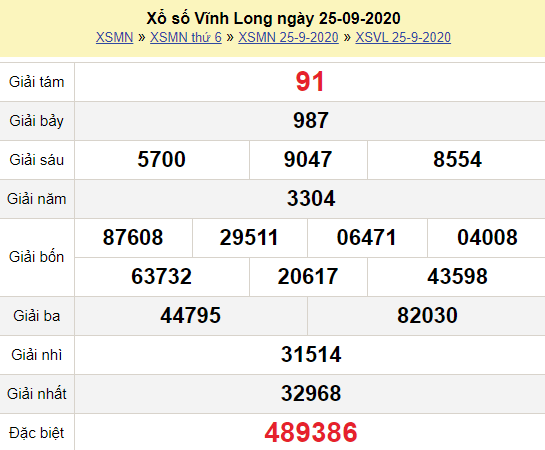 XSVL 25/9/2020