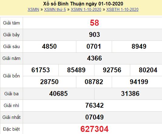 XSBTH 1/10/2020