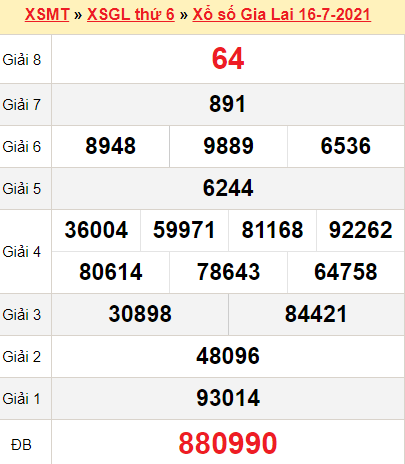 XSGL 16/7/2021